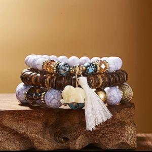 Beaded Elephant Tassel Charm Good Luck Bracelet